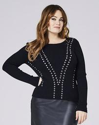 Ribbed Sweater With Eyelets