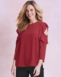 Long Sleeve Frill Cold Shoulder Blouse