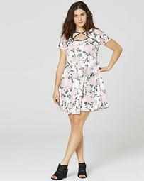 Pink/Ivory Print Cut Out Tipped Dress