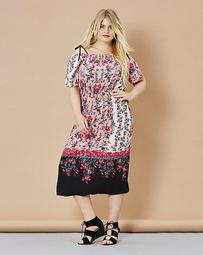 Simply Be Off Shoulder Floral Print Dress