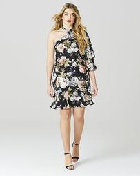Simply Be One Shoulder Ruffle Midi Dress
