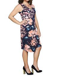 Print Scuba Wrap Dress