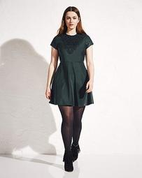 Simply Be Lace Pu Skater Dress