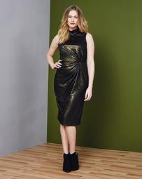 Simply Be Metallic Twist Side Midi Dress