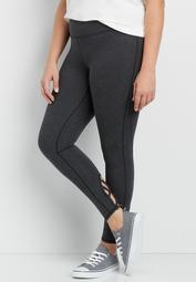 plus size 7/8 legging with strappy bottom hems