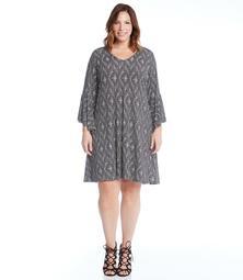 Plus Size V Neck Bell Sleeve Dress