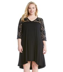 Plus Size V Neck Lace Yoke Swing Dress