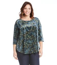 Plus Size 3/4 Sleeve Velvet Top