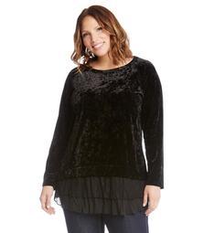 Plus Size Velvet Lace Inset Top