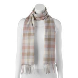 Softer Than Cashmere Pastel Buffalo Check Fringed Oblong Scarf