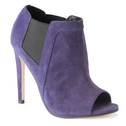 ShoeMint Morgan Women's Suede Peep-Toe High Heel Ankle Boots