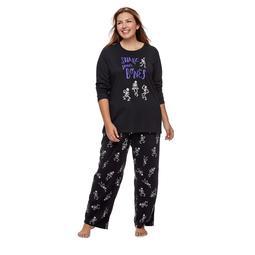 "Women's Plus Jammies For Your Families ""Shake Your Bones"" Skeleton Top & Fleece Bottoms Pajama Set"