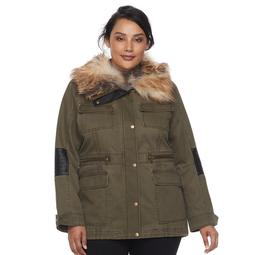 Plus Size Apt. 9® Faux Fur Faux-Leather Accent Parka