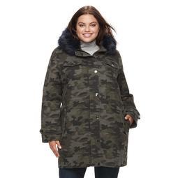 Plus Size Apt. 9® Hooded Faux-Fur Trim Cotton Parka