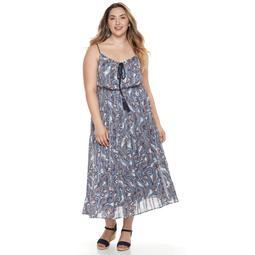 Plus Size Chaya Paisley Chiffon Blouson Dress