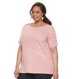 Plus Size Croft & Barrow® Striped Button-Shoulder Tee