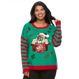 """Juniors' Plus Size It's Our Time  """"Pugs and Kisses"""" Holiday Sweater"""