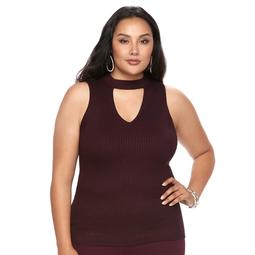 Plus Size Jennifer Lopez Choker Neck Ribbed Tank