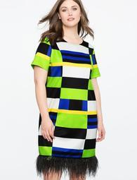 Studio Printed Dress with Feather Hem