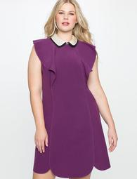 Embellished Collar Dress with Ruffle Detail