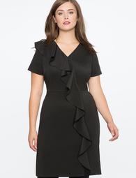 Shift Dress with Oversized Ruffle Cascade