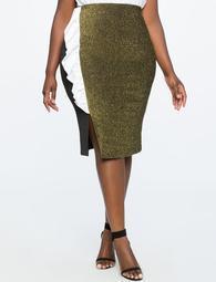 Asymmetrical Ruffle Skirt with Metallic Detail