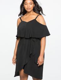Wrap Skirt Cold Shoulder Dress