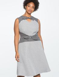 Double Tie Front Fit and Flare Dress