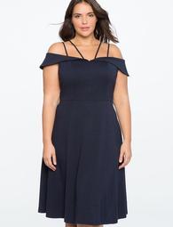 Bardot Dress with Strap Detail