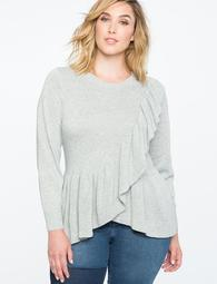 Ruffle Hem Crossover Sweater