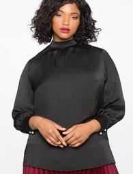 Gathered Mock Neck Blouse with Pearl Button Cuff