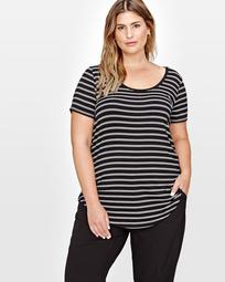 Michel Studio Modern Double Striped T-Shirt with Scoop Neck