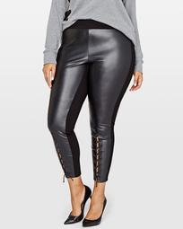 L&L Front Faux-Leather Lace-Up Pants