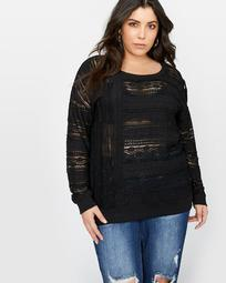 L&L Long Sleeve Lace Top with Cutouts