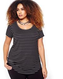 Michel Studio Scoop Neck Striped Modern T-shirt