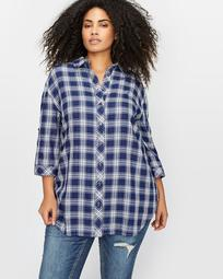 L&L Long Plaid Shirt with Rolled-Up Sleeve