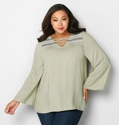 Cage Embroidered Peasant Top