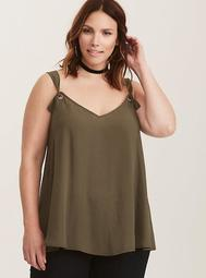 Olive Green Georgette O-Ring Cami