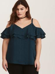 Emerald Green Ruffled Cold Shoulder Blouse