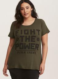 Public Enemy Fight the Power Olive Graphic Tee