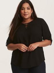 Black Lace-Up Challis Pullover Blouse