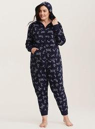 Sleep Cat Star Print Fleece Onesie
