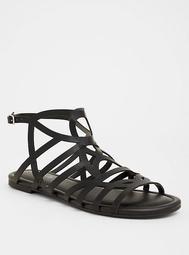 Black Geometric Gladiator Sandals (Wide Width)
