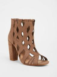 Taupe Laser Cut Bootie (Wide Width)