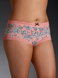 Rose Print Lace Trim Cheeky Panty