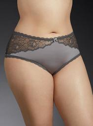 Microfiber & Floral Lace Cheeky Panty