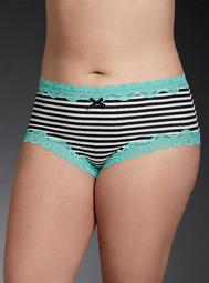 Striped Lace Trim Cheeky Panty