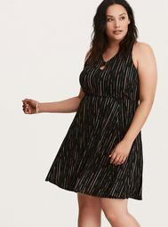 Abstract Stripe Keyhole Cutout Skater Dress