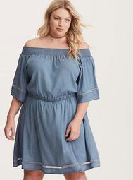 Blue Chambray Off Shoulder Smocked Dress