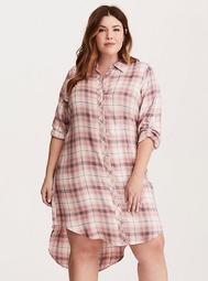 Plaid Button Front Shirt Dress